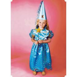 Karnevalový kostým PRINCEZNA S HVĚZDIČKAMI A KLOBOUKEM - šaty, klobouk
