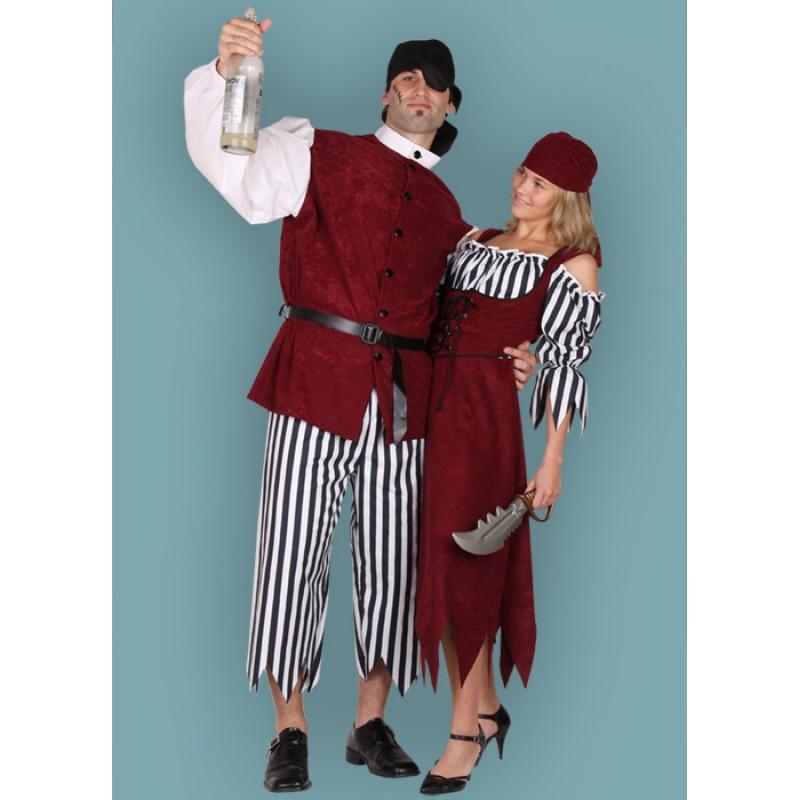 Karnevalový kostým PIRÁT III - kalhoty, vrchní díl, pásek, šátek