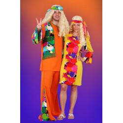 Karnevalový kostým Hippie - kalhoty, horní díl, čelenka     náhradní materiál