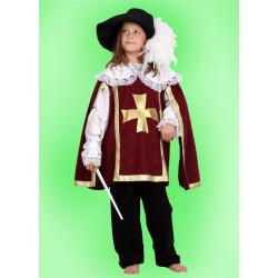 Karnevalový kostým Mušketýr - bordó Kalhoty,horní díl,klobouk