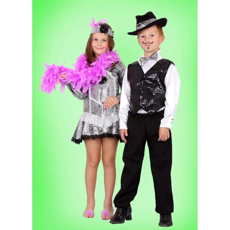 Karnevalový kostým Lady Cabaret - šaty, čelenka,boa