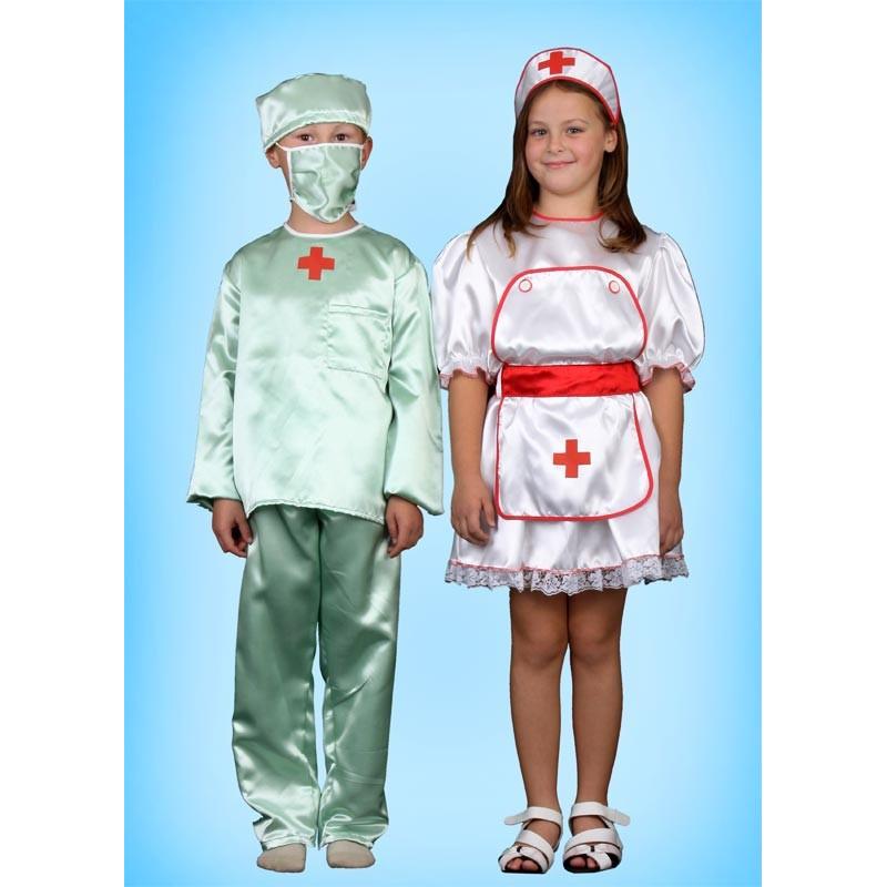 Karnevalový kostým Doktor set - kalhoty,horní díl,rouška,čepice