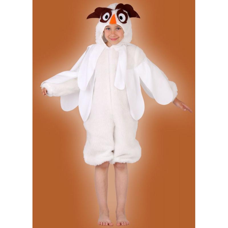 Karnevalový kostým SOVA BÍLÁ - kombinéza s kapucí