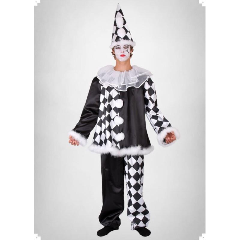 Karnevalový kostým Pierot - horní díl, kalhoty, čepice