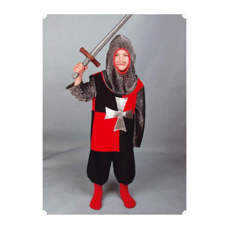 Karnevalový kostým RYTÍŘ ČERVENOČERNÝ - kalhoty, horní díl, kukla