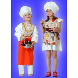 Karnevalový kostým KUCHAŘ - kalhoty, horní díl, zástěra, čepice