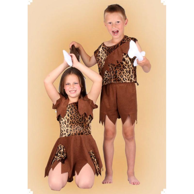 Karnevalový kostým Pravěk - děvče šaty, vesta
