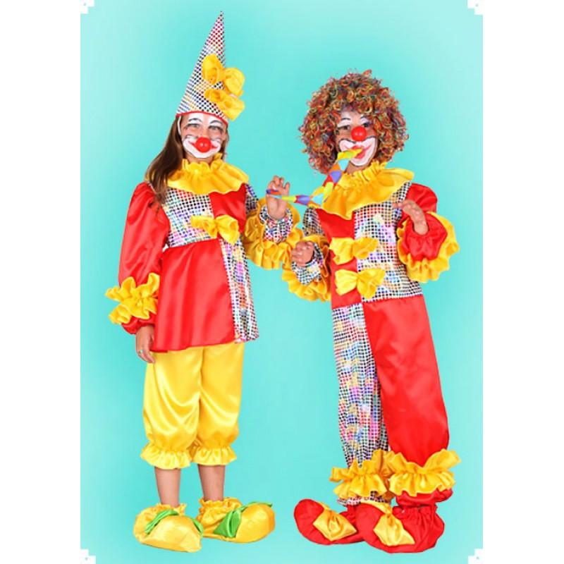 Karnevalový kostým Klaun dvoudílný - horní díl, kalhoty, čepice