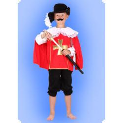 Karnevalový kostým Mušketýr - červený horní díl, kalhoty, klobouk