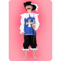 Karnevalový kostým Mušketýr - modrý horní díl, kalhoty, klobouk