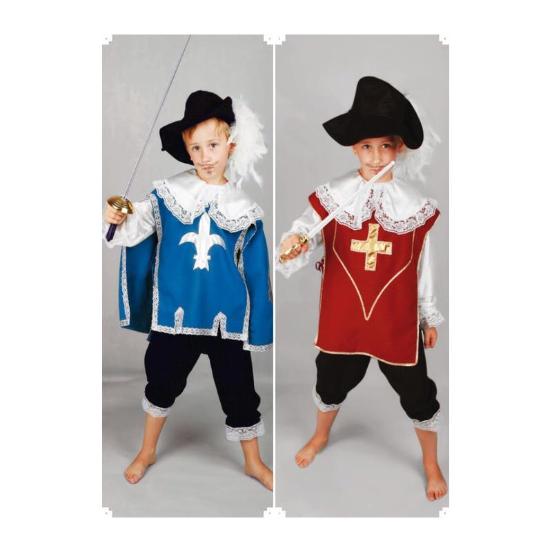 Karnevalový kostým MUŠKETÝR MODRÝ - kalhoty, košile, pelerína, klobouk
