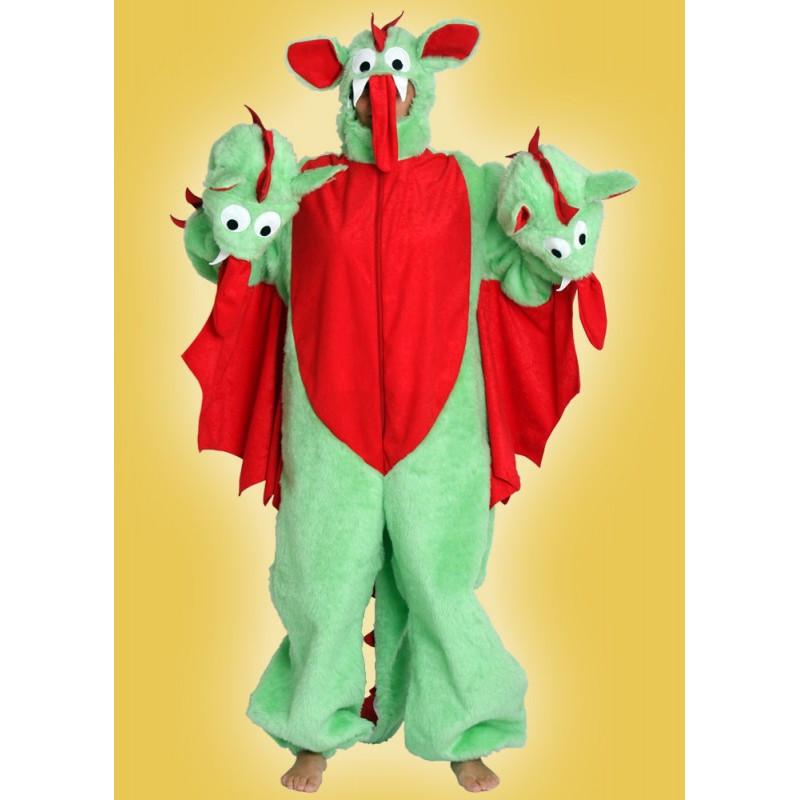 Karnevalový kostým DRAK TŘÍHLAVÝ - overal s kapucí