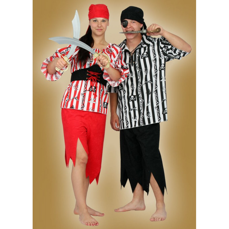 Karnevalový kostým PIRÁTKA - kalhoty, horní díl, pásek, šátek -  nyní horní díl z náhradního materiálu červenobílý proužek