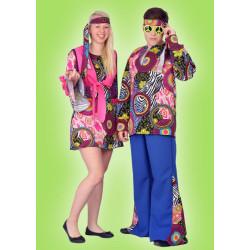 Karnevalový kostým HIPPIE DĚVČE - šaty, bolerko, čelenka