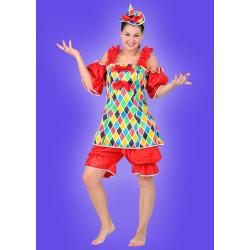 Karnevalový kostým KLAUN DÍVKA - šaty, kalhoty, klobouk