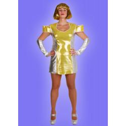 Karnevalový kostým MIMOZEMŠŤANKA ZLATÁ - šaty, rukavice