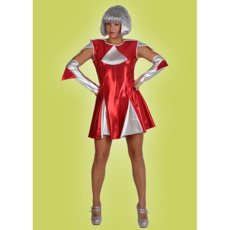 Karnevalový kostým MIMOZEMŠŤANKA ČERVENÁ - šaty, rukavice