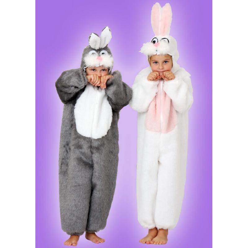 Karnevalový kostým KRÁLÍK ŠEDÝ - overal s kapucí