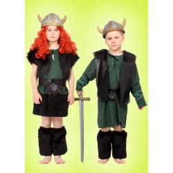 Karnevalový kostým VIKING DĚVČE 2 - šaty, vesta, pásek, štulpny