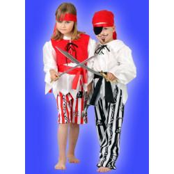 Karnevalový kostým PIRÁTKA - kalhoty, horní díl, vesta, pásek čelenka- nyní kalhoty z náhradního materiálu červenobílý proužek