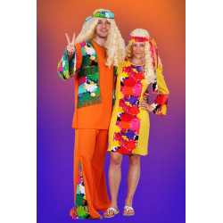 Karnevalový kostým Hippie šaty II - šaty, čelenka           náhradní materiál