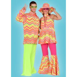 Karnevalový kostým HIPPIE ŽENA - horní díl, kalhoty, klobouk