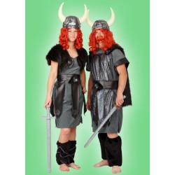 Karnevalový kostým VIKING - tunika s pláštěm a zástěrou, štulpny