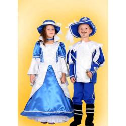 Karnevalový kostým Mušketýr modrý -  kalhoty,horní díl,klobouk,návleky