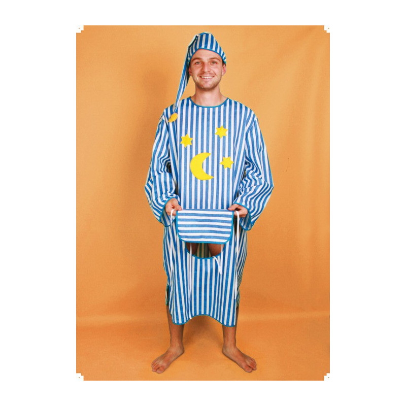 Karnevalový kostým NOČNÍ KOŠILE S OKÝNKEM - košile, čepice -                     náhradní materiál - modrobílé kosočtverce !!