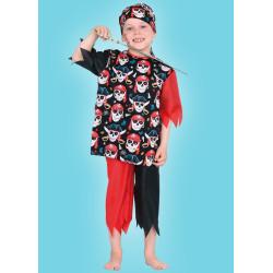 Karnevalový kostým Pirát - horní díl, kalhoty, šátek