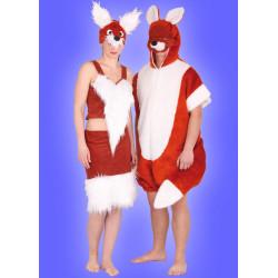 Karnevalový kostým Lišák - kombinéza s kapucí,škrabosška