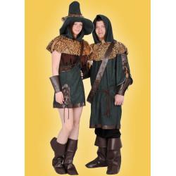 Karnevalový kostým Lesní žena - šaty,vesta,pelerína s kapucí,pásek,klobouk