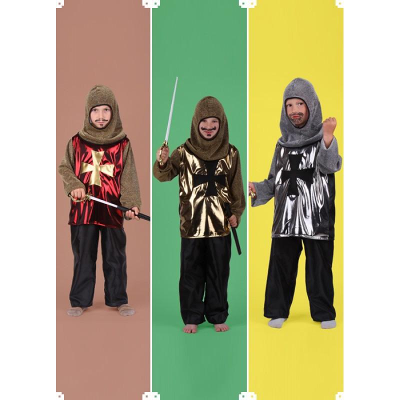 Karnevalový kostým RYTÍŘ A - kalhoty, horní díl, kapuce