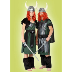 Karnevalový kostým VIKING DĚVČE - šaty, pásek, bolerko, štulpny
