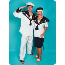 Karnevalový kostým NÁMOŘNÍK - kalhoty, horní díl, čepice