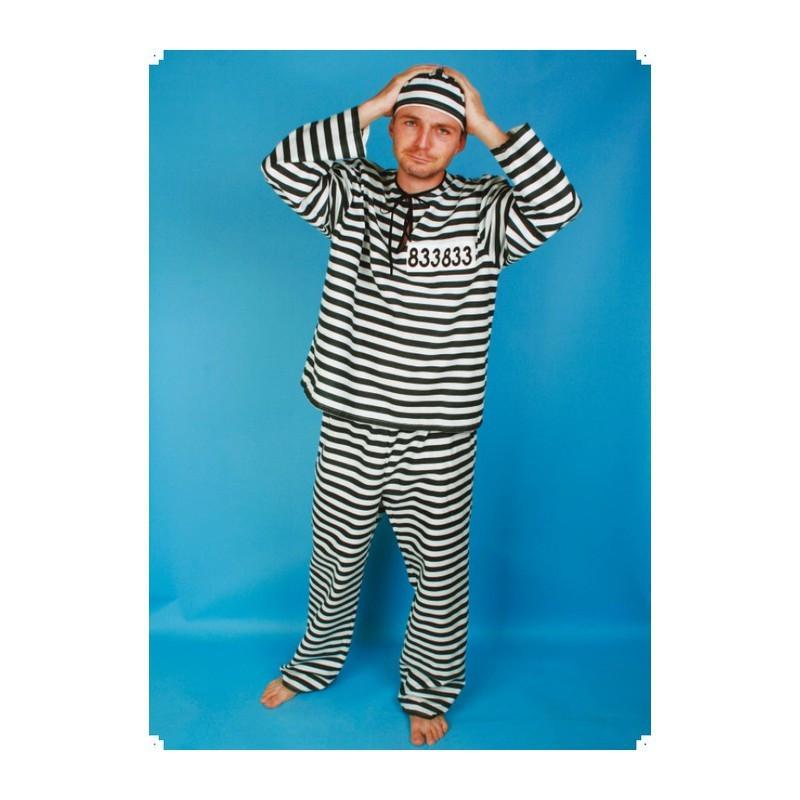 Masopustní kostým  VĚZEŇ - kalhoty, halena,čepice