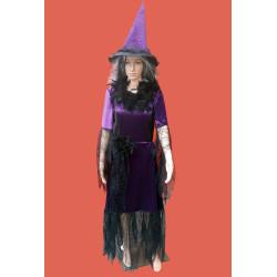 Karnevalový kostým      Čarodějnice luxus -                           šaty, klobouk