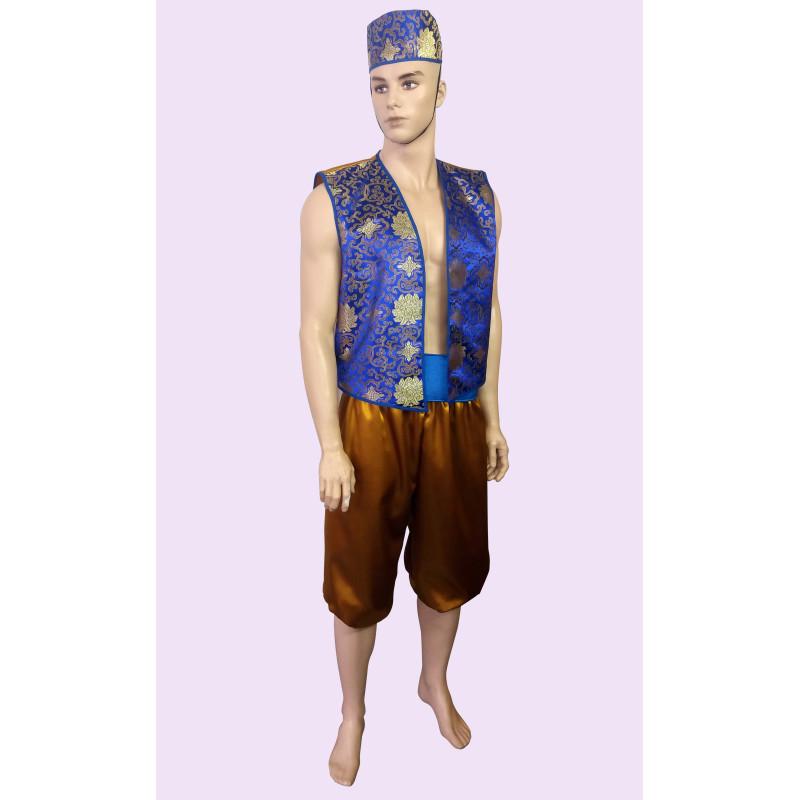 Karnevalový kostým Aladin modrý                                                                 kalhoty,pásek,vesta,čepice
