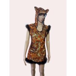 Karnevalový kostým Tygřice                                                                        šaty s kapucí